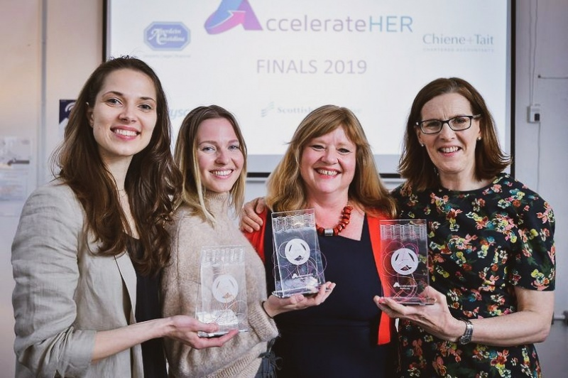 Image of Corien Staels at AccelerateHER Awards with Winners